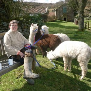 Milly with Nicky having a break from halter training!